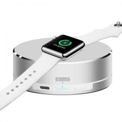 3 v 1 powerbanka, nabíjecí stojánek a ochranné pouzdro na kabel pro Apple Watch - stříbrná