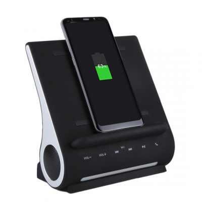 AZPEN 3 v 1 stylová a extra rychlá dokovací stanice se zabudovaným bluetooth reproduktorem a QI bezdrátovou nabíječkou pro Apple iPhone