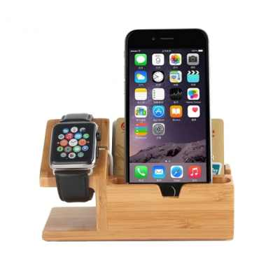 Dřevěný nabíjecí stojánek 2v1 pro Apple Watch 38mm / 42mm a iPhone 6 / 6 Plus a iPhone 5 / 5S / 5C - tmavý
