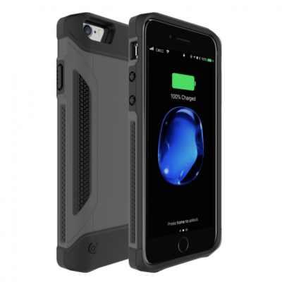 Odolný ochranný kryt s externí baterií 4000mAh pro Apple iPhone 6 / 6S / 7 / 8 - šedý
