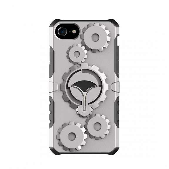 Ochranný outdoorový obal s odnímatelným páskem na ruku pro Apple iPhone 7 / 8 - šedý