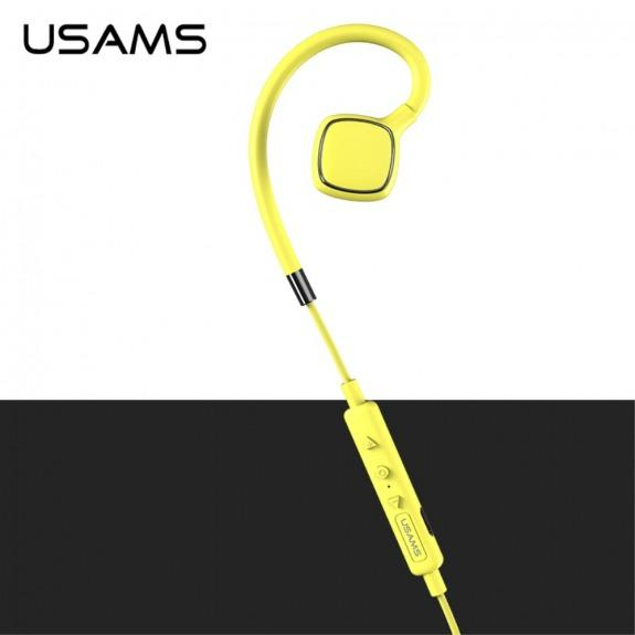 USAMS sportovní voděodolná sluchátka s bezdrátovým Bluetooth připojením pro Apple iPhone - žlutá