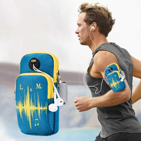 Univerzální sportovní pouzdro / kapsa na ruku pro Apple iPhone / iPod - tyrkysové