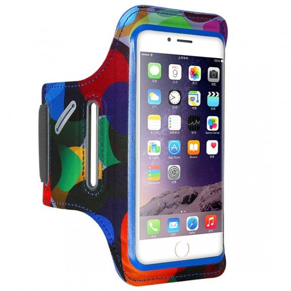 FLOVEME barevné sportovní pouzdro na ruku pro 6 Plus / 6S Plus / 7 Plus / 8 Plus - modré