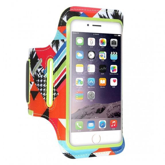 FLOVEME barevné sportovní pouzdro na ruku pro iPhone 6 - 6S - 7 - 8 - zelené