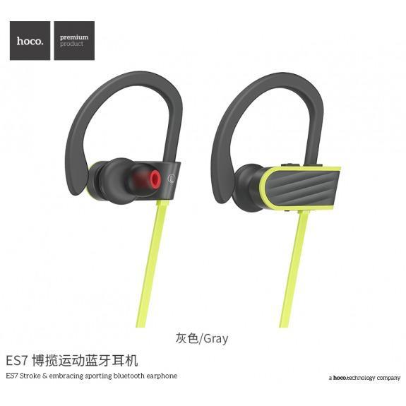 HOCO bezdrátová Bluetooth sportovní sluchátka pro Apple iPhone - šedo-žlutá
