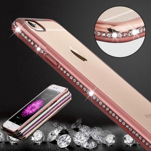 Luxusní kryt s třpytivými kamínky po obvodu pro Apple iPhone 6 / 6S - růžově zlatý