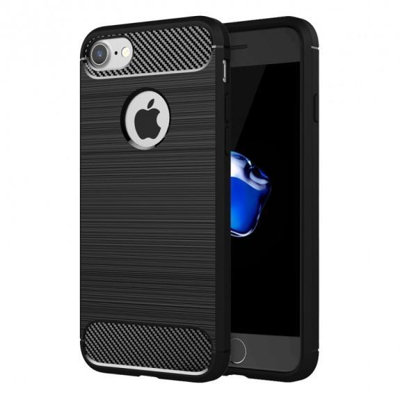 Odolný plastový kryt ve stylu broušeného karbonu pro iPhone 8 / 7 - černý