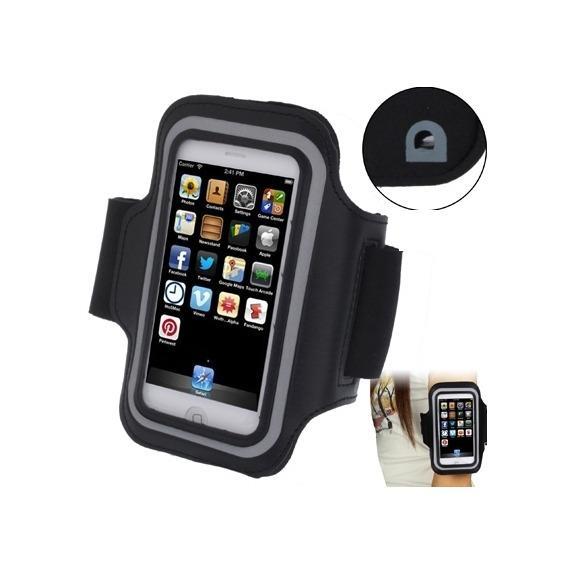 Sportovní pouzdro na ruku s průchodem na sluchátka pro iPhone 5 5S SE 4 4S - černé
