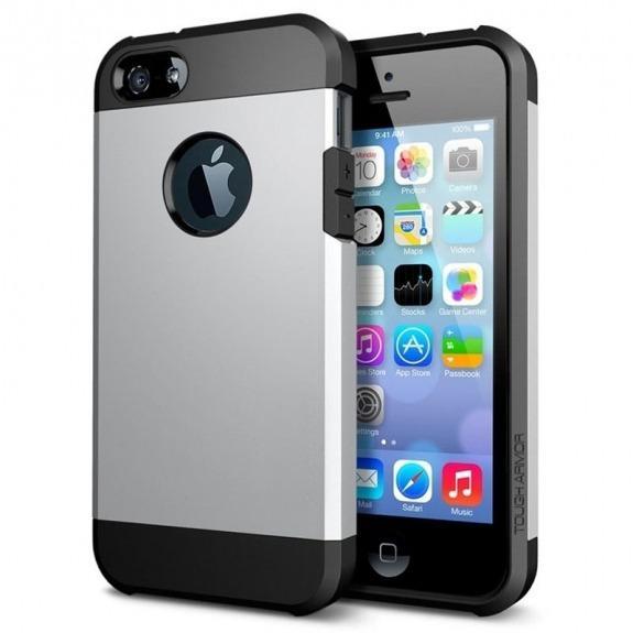 "Super odolný ""Armor"" kryt pro iPhone 5 / 5S / SE - stříbrný"