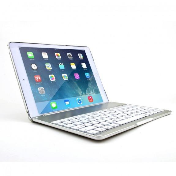 "WITSPAD hliníkový kryt s barevně podsvícenou Bluetooth klávesnicí pro Apple iPad Air / iPad 9.7"" 2017 / iPad 2018 - stříbrný"