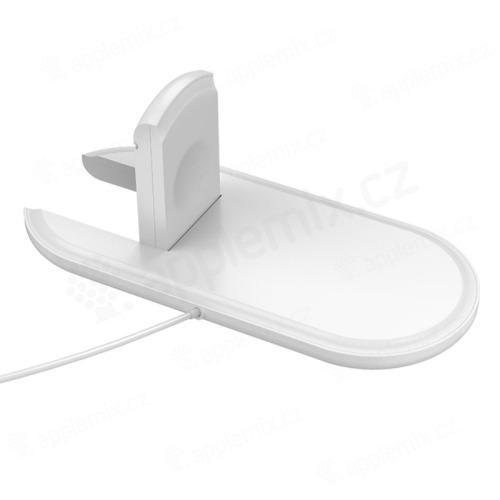 2v1 bezdrátová nabíječka / podložka Qi pro Watch / iPhone - bílá