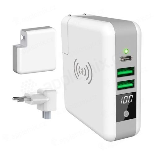 3v1 Externí baterie / Power bank 6700 mAh + adaptér / nabíječka 2x USB + USB-C + Qi nabíjecí podložka