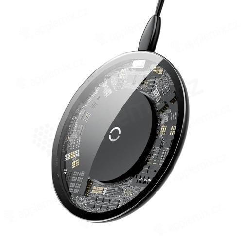 Bezdrátová nabíječka / nabíjecí podložka Qi BASEUS - kov / sklo - průhledná - černá