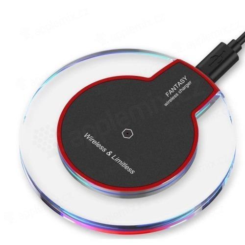 Bezdrátová nabíječka / nabíjecí podložka Qi - mini - černá / průhledná
