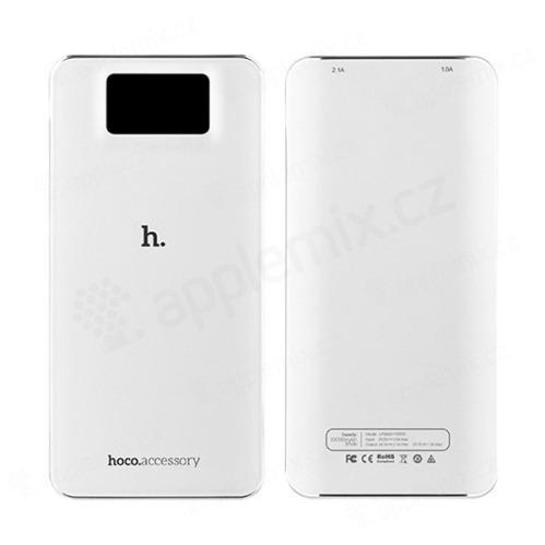 Externí baterie / power bank HOCO UPB05 10000mAh s 2x USB porty (1A, 2.1A) - bílá