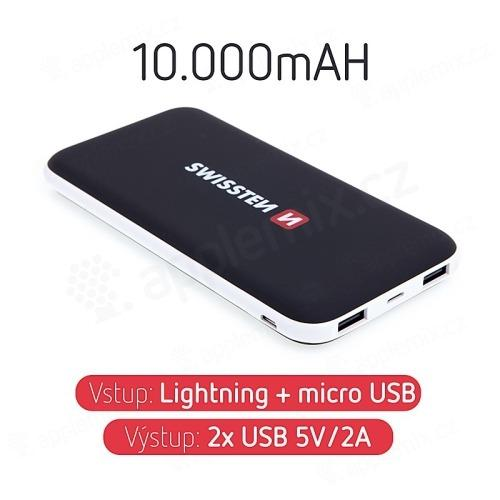 Externí baterie / power bank SWISSTEN - 10000 mAh - 2x USB, 2A, vstup Lightning / Micro USB - černá